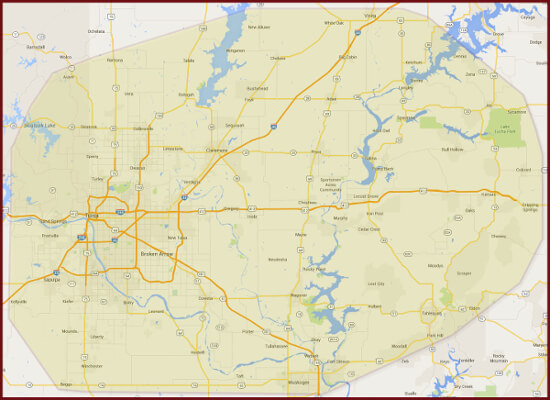 Our Plumbing Service Area-Tulsa, Broken Arrow, Mayes County OK